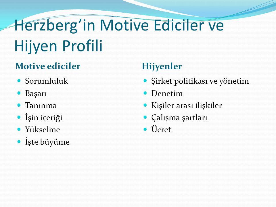 Herzberg'in Motive Ediciler ve Hijyen Profili