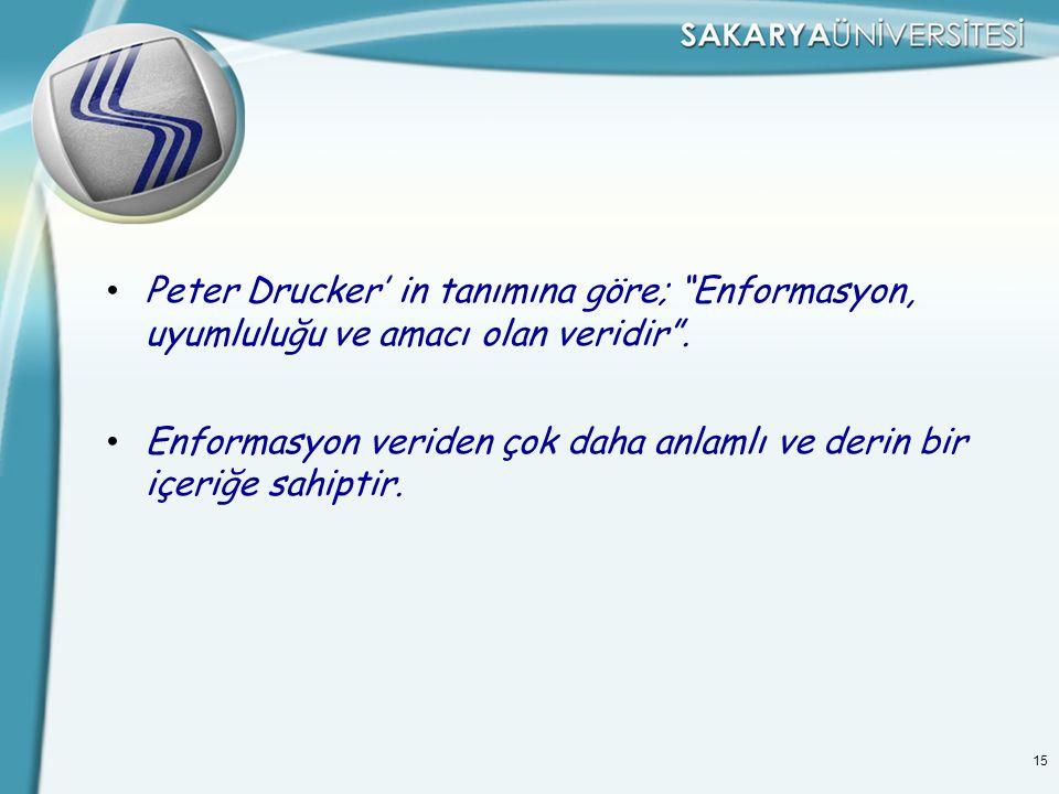 Peter Drucker' in tanımına göre; Enformasyon, uyumluluğu ve amacı olan veridir .