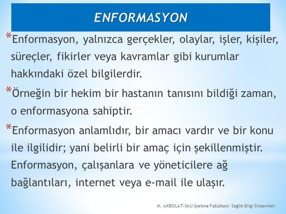 ENFORMASYON Enformasyon, yalnızca gerçekler, olaylar, işler, kişiler, süreçler, fikirler veya kavramlar gibi kurumlar hakkındaki özel bilgilerdir.