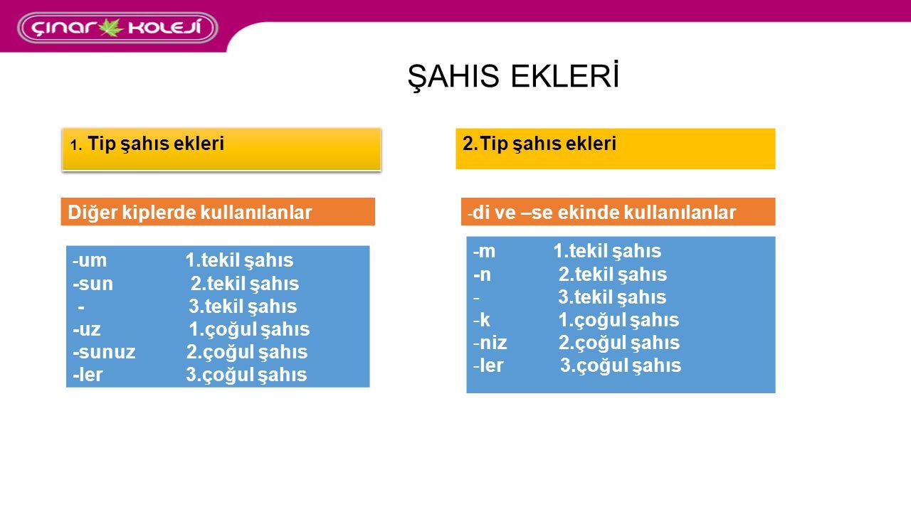 ŞAHIS EKLERİ 2.Tip şahıs ekleri Diğer kiplerde kullanılanlar