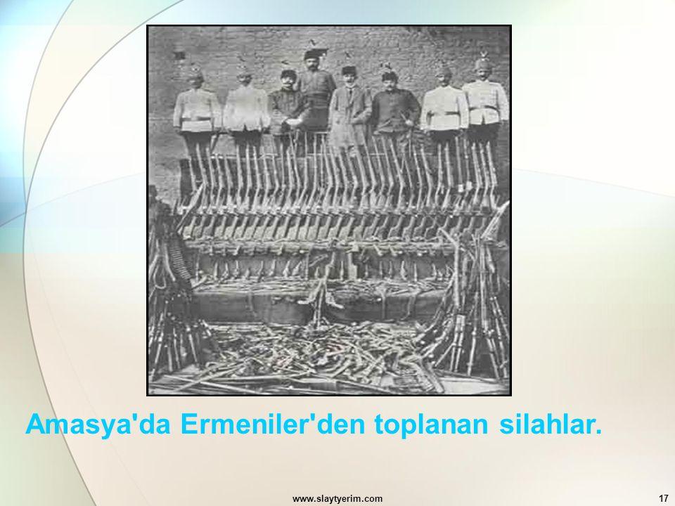 Amasya da Ermeniler den toplanan silahlar.