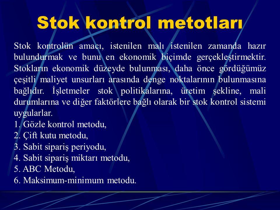 Stok kontrol metotları
