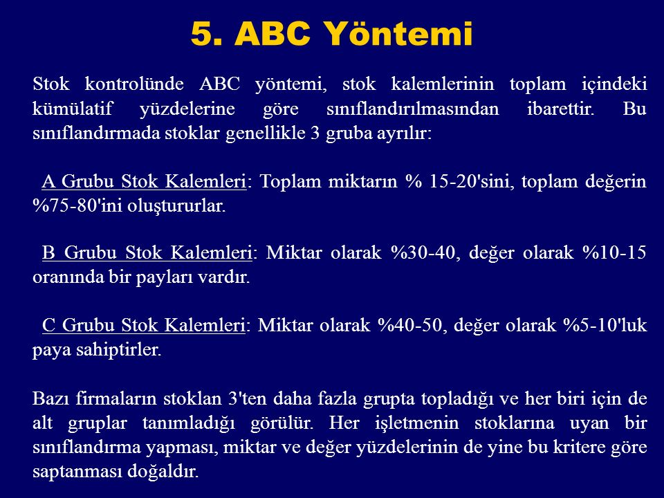 5. ABC Yöntemi
