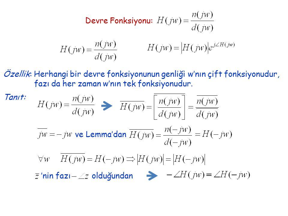 Devre Fonksiyonu: Özellik: Herhangi bir devre fonksiyonunun genliği w'nın çift fonksiyonudur, fazı da her zaman w'nın tek fonksiyonudur.