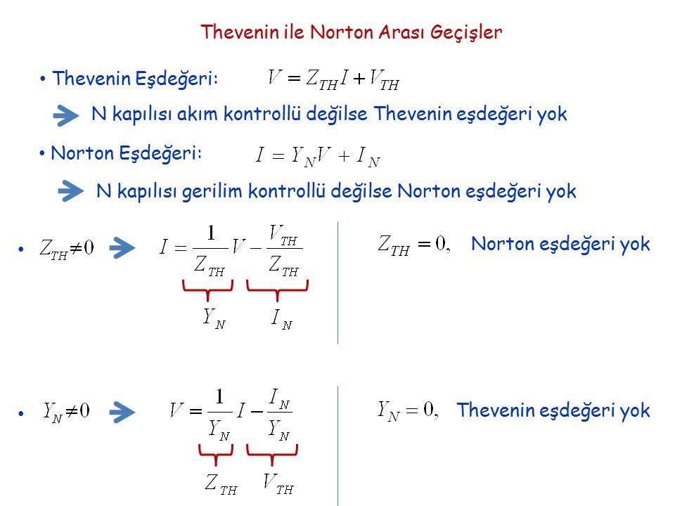 Thevenin ile Norton Arası Geçişler