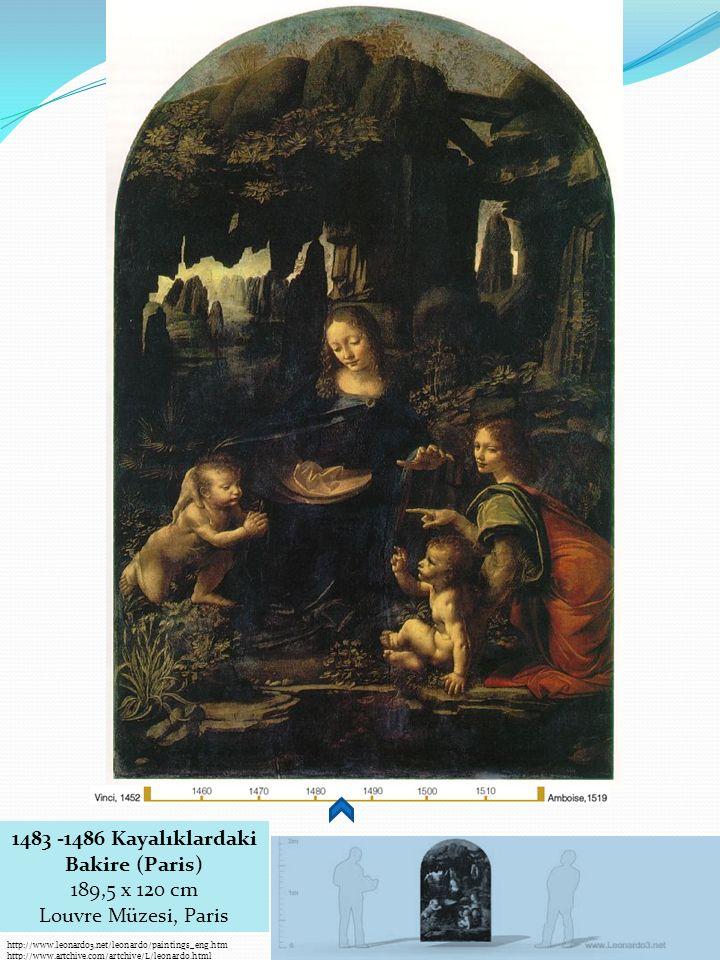 1483 -1486 Kayalıklardaki Bakire (Paris) 189,5 x 120 cm