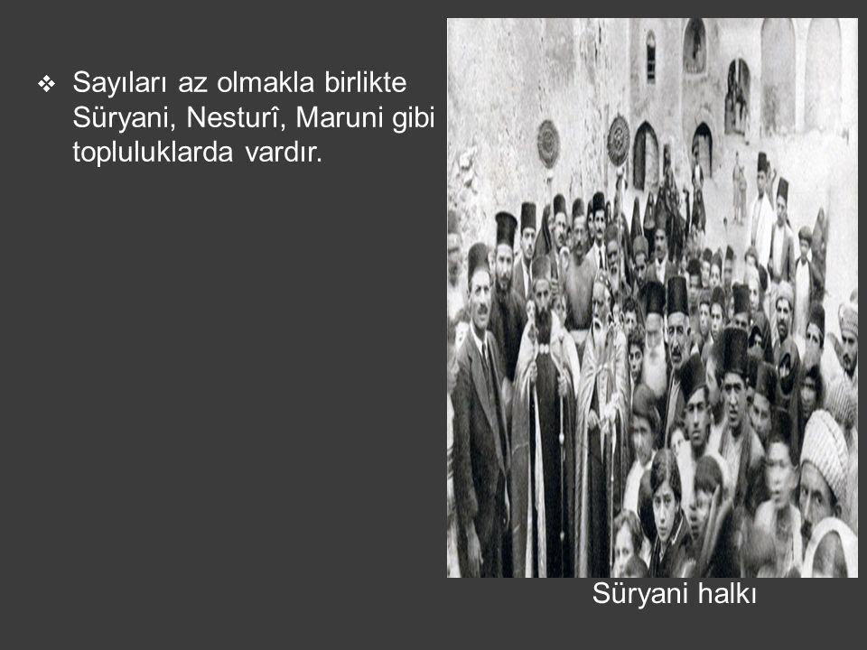Sayıları az olmakla birlikte Süryani, Nesturî, Maruni gibi topluluklarda vardır.