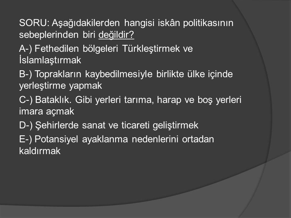 SORU: Aşağıdakilerden hangisi iskân politikasının sebeplerinden biri değildir.