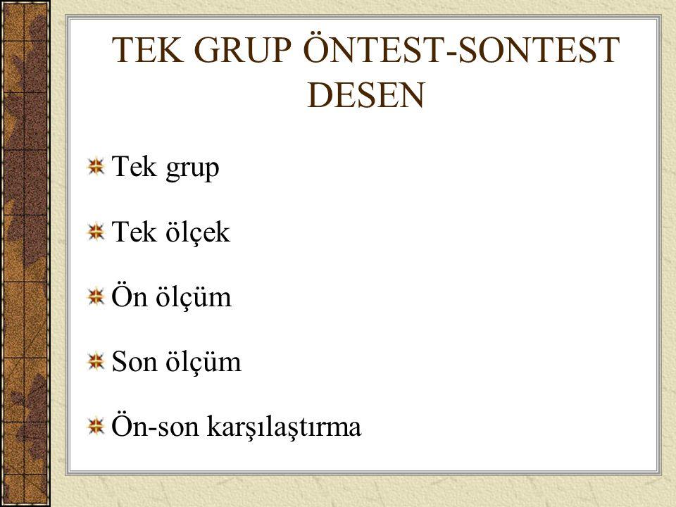 TEK GRUP ÖNTEST-SONTEST DESEN
