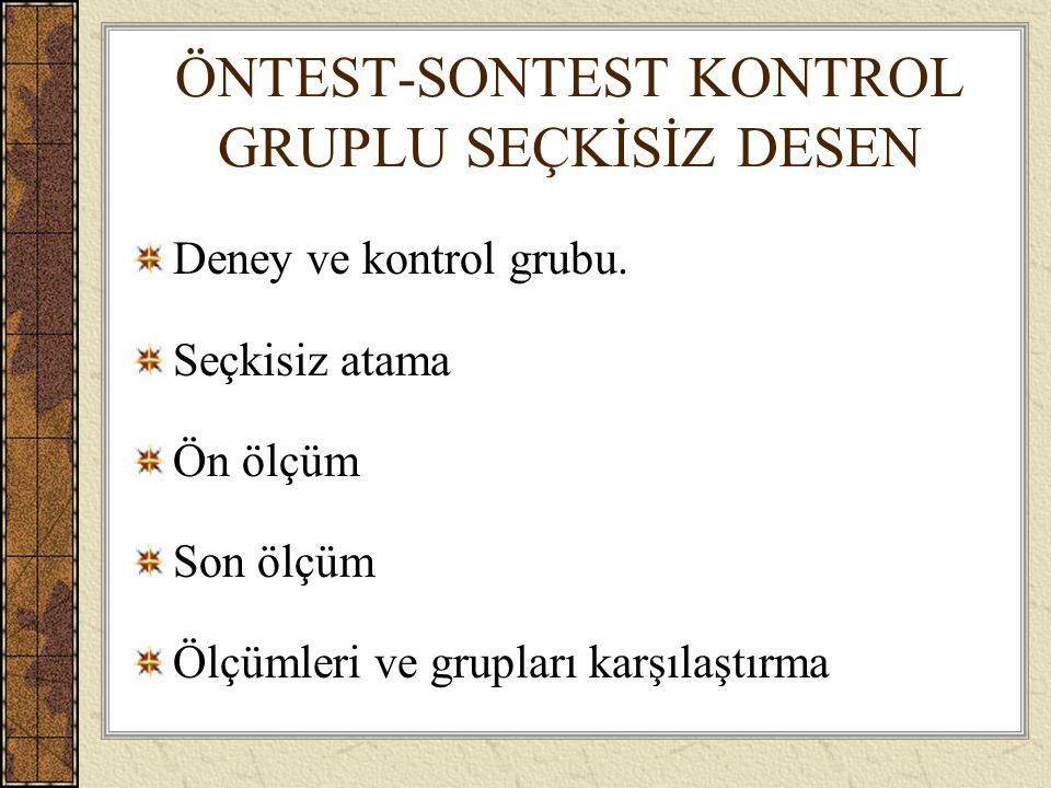 ÖNTEST-SONTEST KONTROL GRUPLU SEÇKİSİZ DESEN