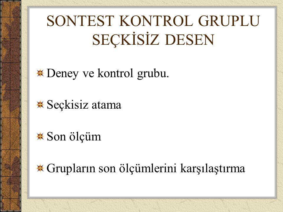 SONTEST KONTROL GRUPLU SEÇKİSİZ DESEN