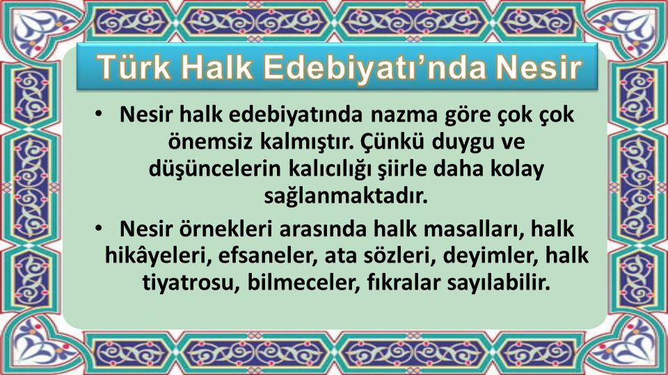 Türk Halk Edebiyatı'nda Nesir