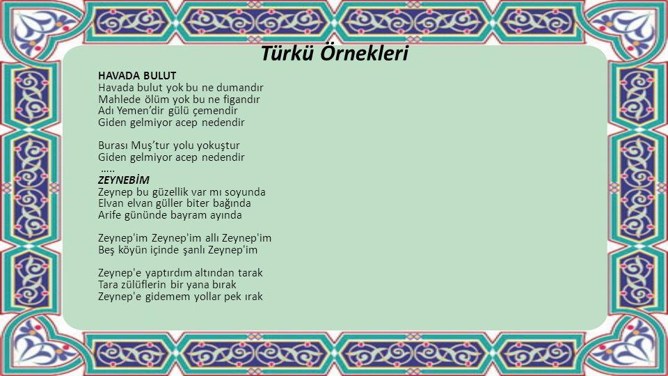 Türkü Örnekleri HAVADA BULUT Havada bulut yok bu ne dumandır