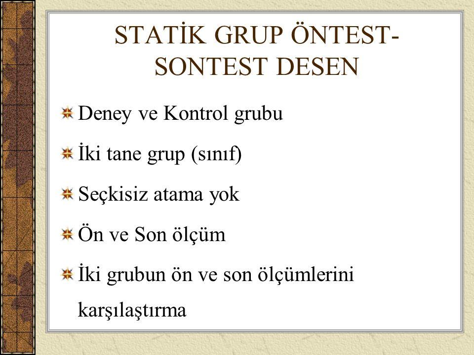 STATİK GRUP ÖNTEST-SONTEST DESEN