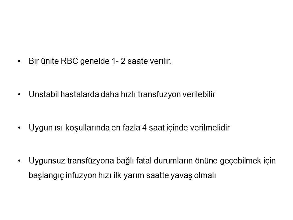 Bir ünite RBC genelde 1- 2 saate verilir.