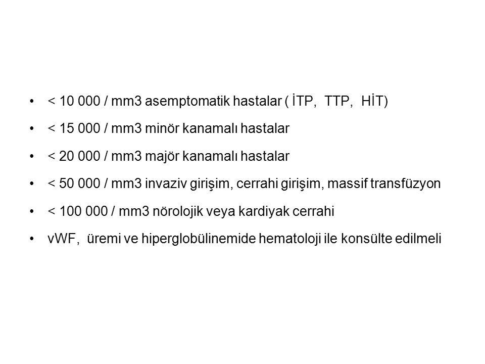 < 10 000 / mm3 asemptomatik hastalar ( İTP, TTP, HİT)