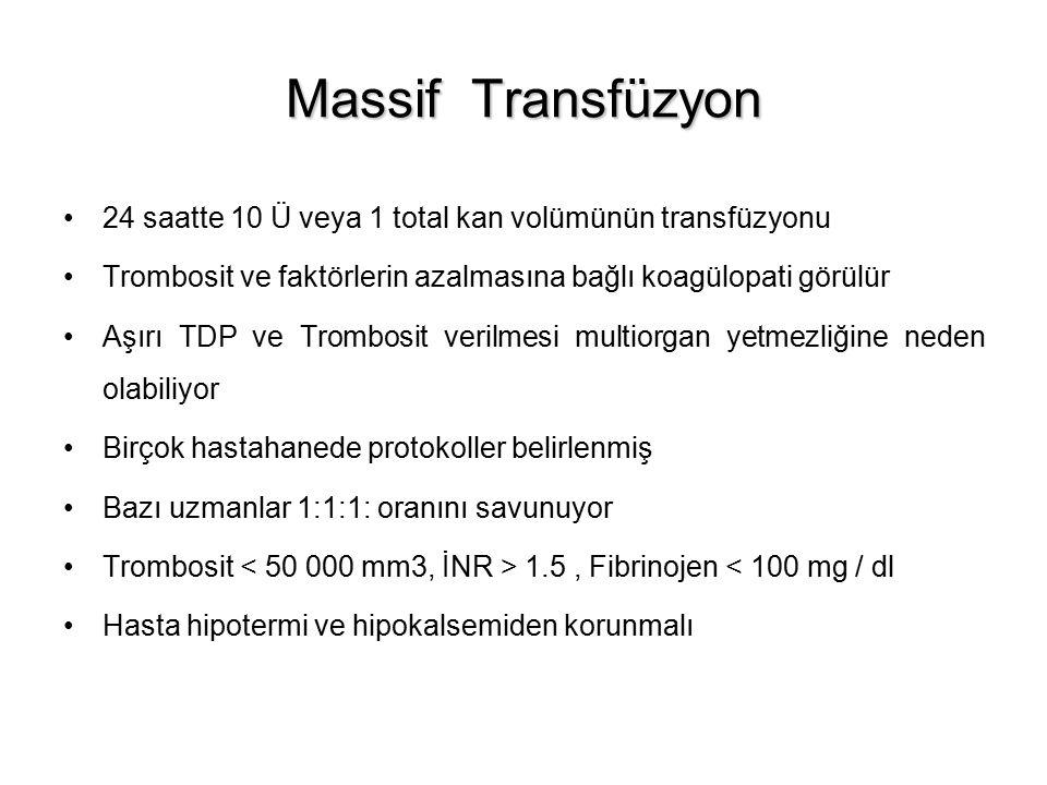 Massif Transfüzyon 24 saatte 10 Ü veya 1 total kan volümünün transfüzyonu. Trombosit ve faktörlerin azalmasına bağlı koagülopati görülür.
