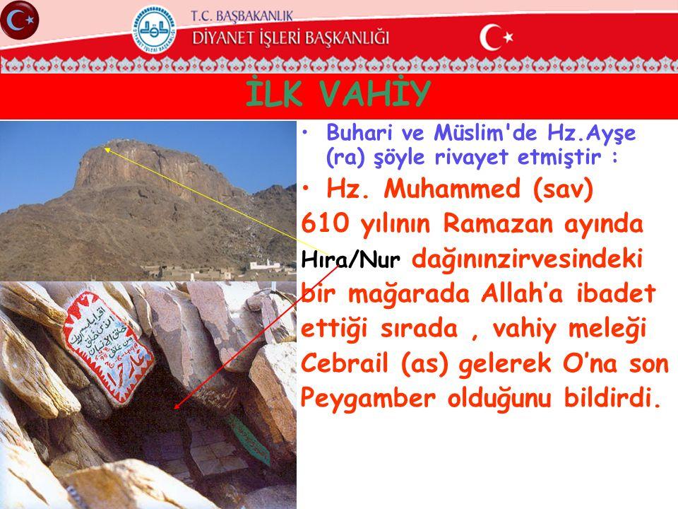 İLK VAHİY Hz. Muhammed (sav) 610 yılının Ramazan ayında