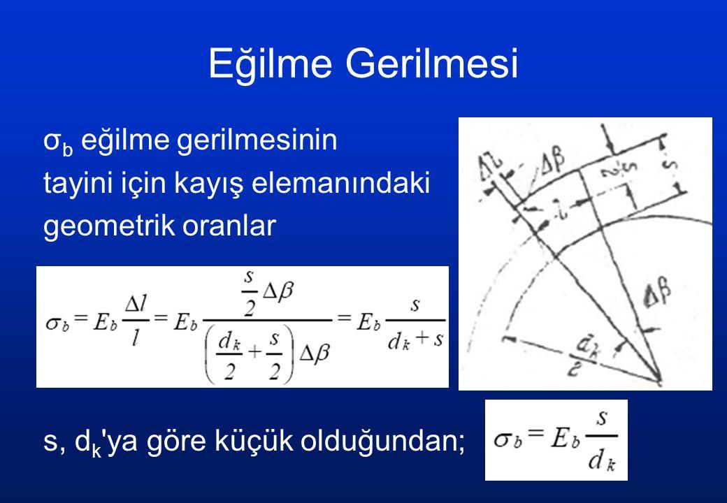 Eğilme Gerilmesi σb eğilme gerilmesinin tayini için kayış elemanındaki geometrik oranlar s, dk ya göre küçük olduğundan;