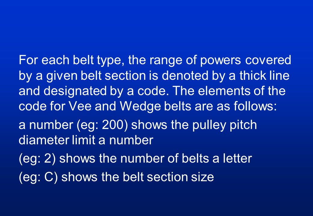 For each belt type, the range of powers covered by a given belt section is denoted by a thick line and designated by a code.