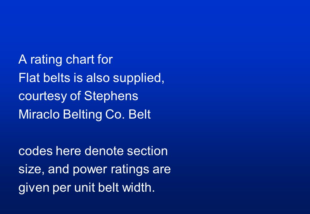 A rating chart for Flat belts is also supplied, courtesy of Stephens Miraclo Belting Co.