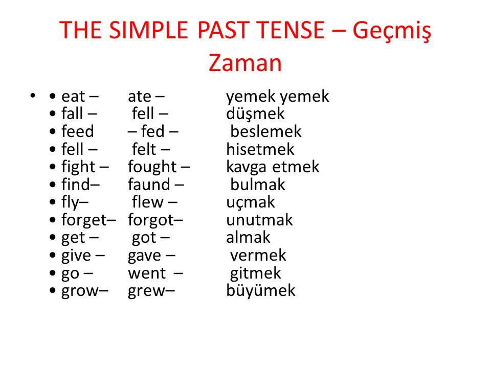 THE SIMPLE PAST TENSE – Geçmiş Zaman