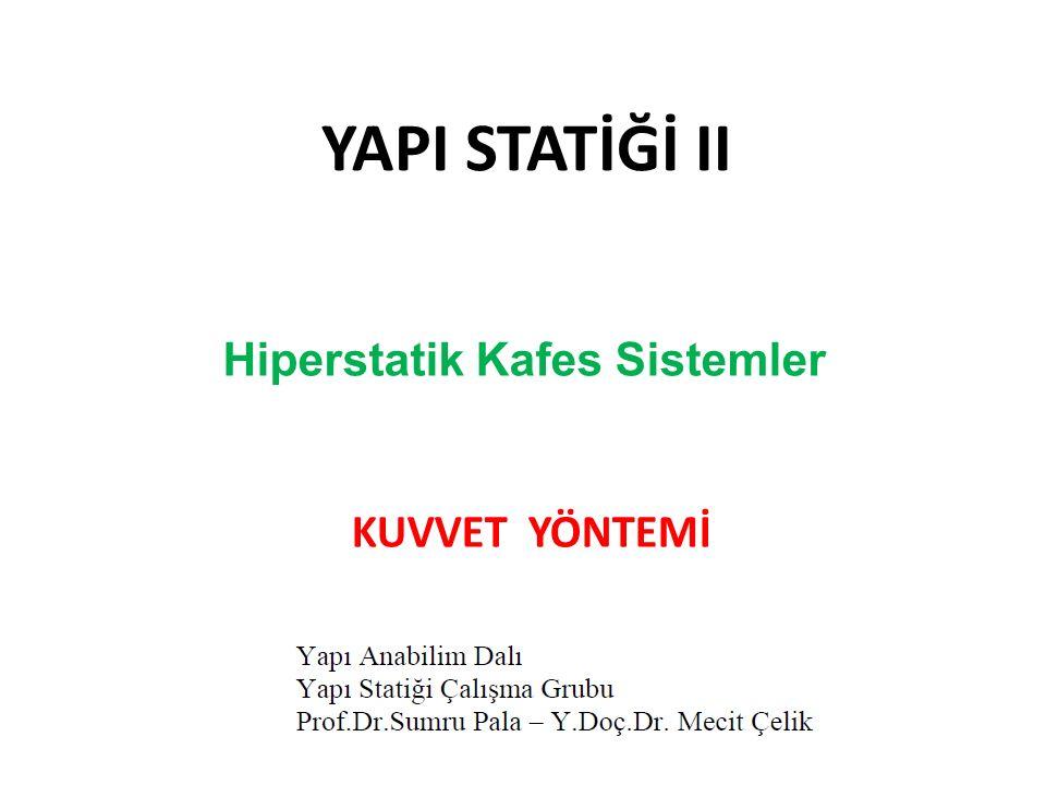 YAPI STATİĞİ II Hiperstatik Kafes Sistemler KUVVET YÖNTEMİ