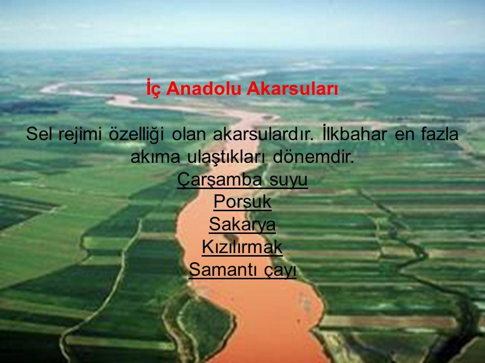İç Anadolu Akarsuları Sel rejimi özelliği olan akarsulardır