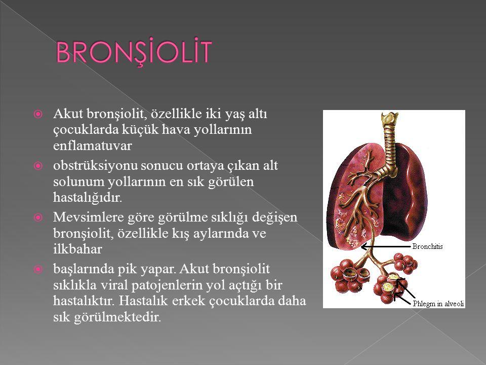 BRONŞİOLİT Akut bronşiolit, özellikle iki yaş altı çocuklarda küçük hava yollarının enflamatuvar.
