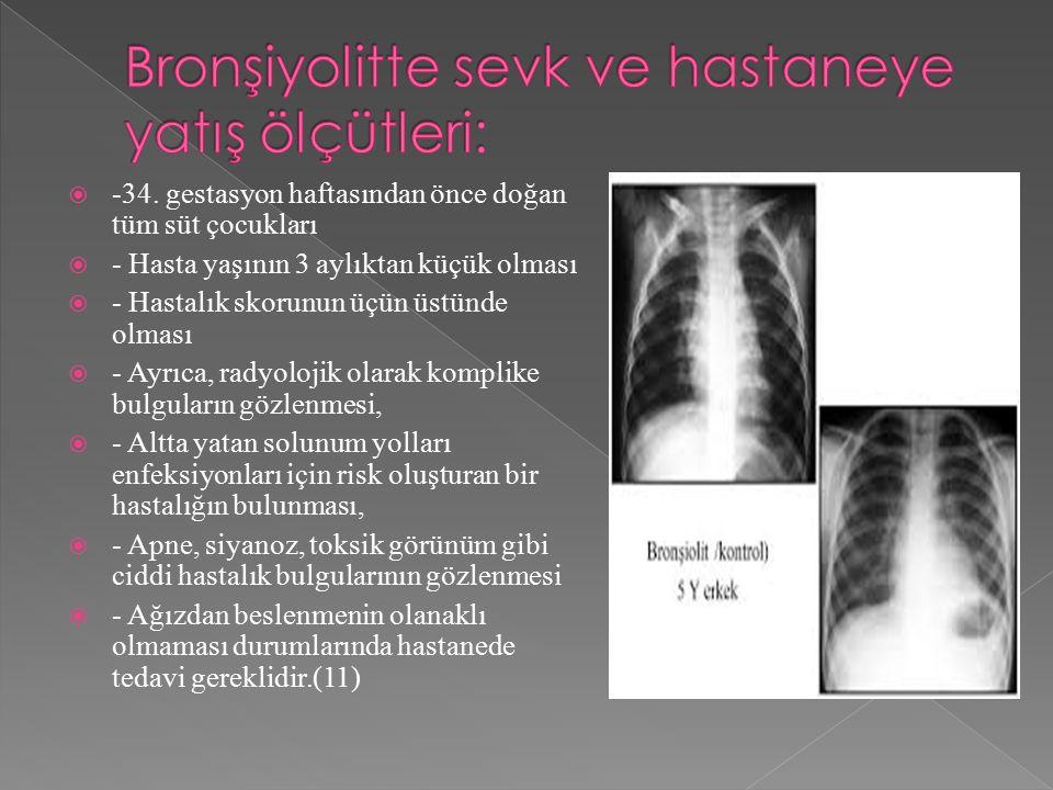 Bronşiyolitte sevk ve hastaneye yatış ölçütleri: