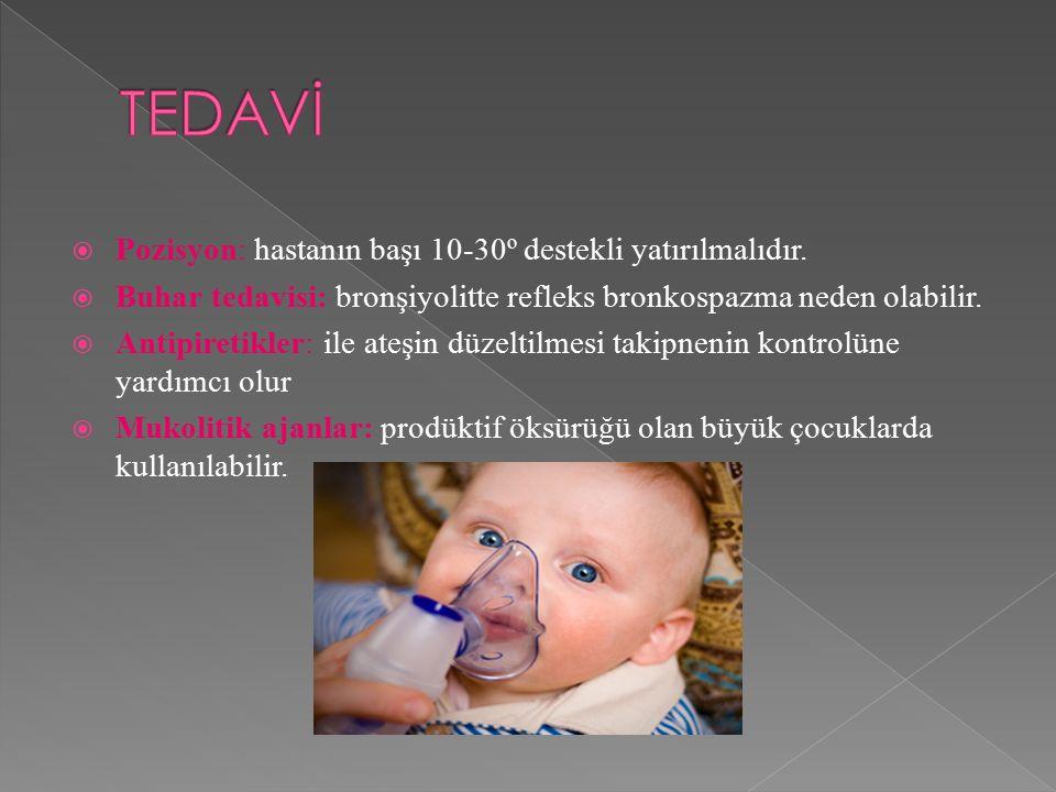 TEDAVİ Pozisyon: hastanın başı 10-30º destekli yatırılmalıdır.