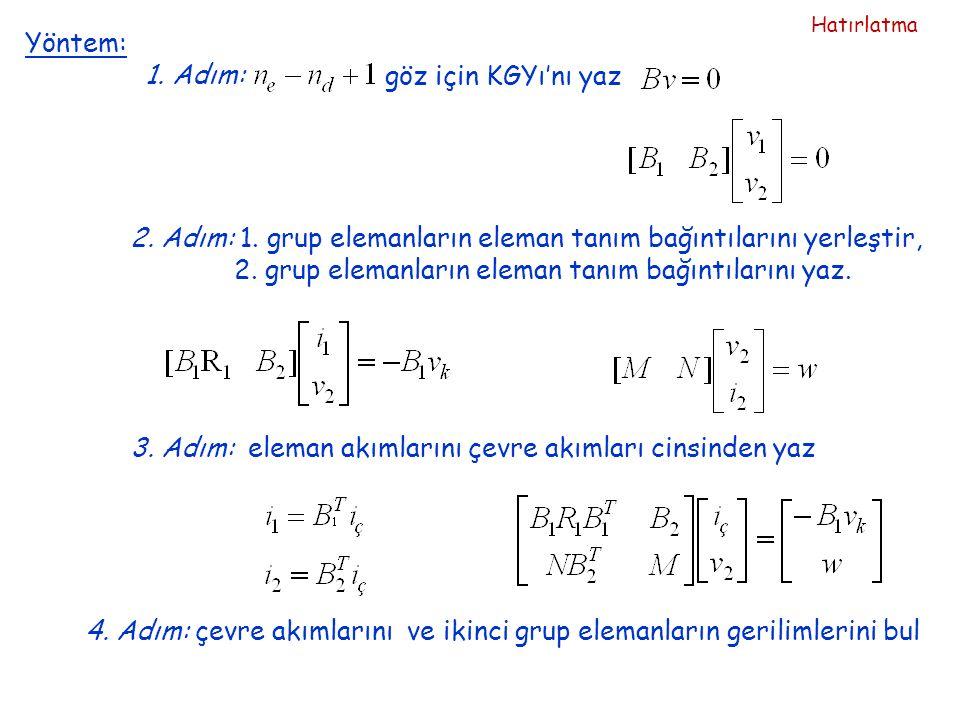 2. Adım: 1. grup elemanların eleman tanım bağıntılarını yerleştir,