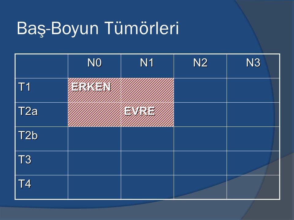 Baş-Boyun Tümörleri N0 N1 N2 N3 T1 ERKEN T2a EVRE T2b T3 T4
