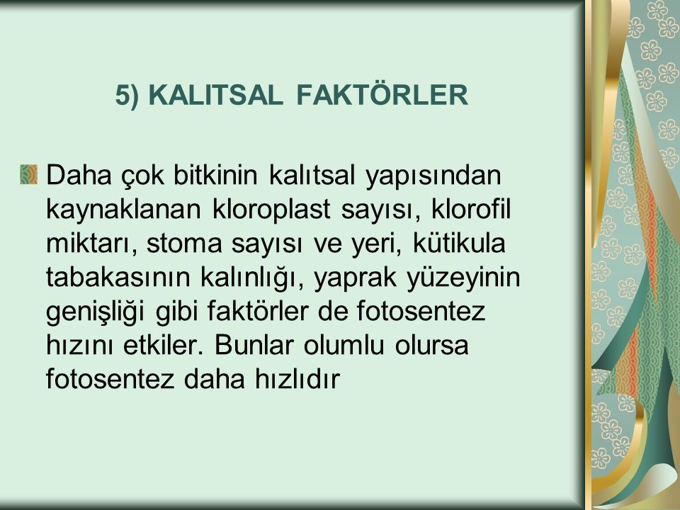 5) KALITSAL FAKTÖRLER