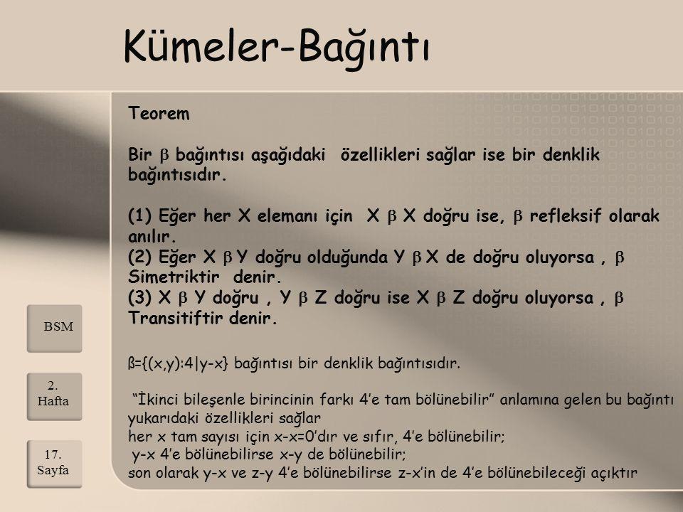 Kümeler-Bağıntı Teorem