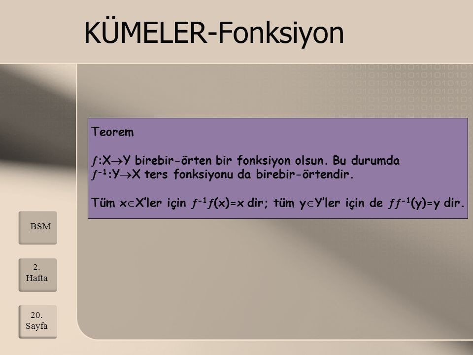 KÜMELER-Fonksiyon Teorem