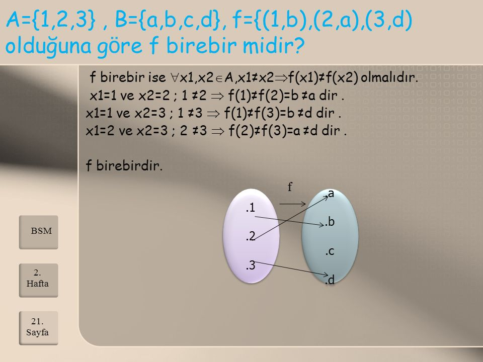 A={1,2,3} , B={a,b,c,d}, f={(1,b),(2,a),(3,d) olduğuna göre f birebir midir