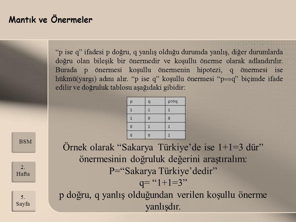 P= Sakarya Türkiye'dedir q= 1+1=3
