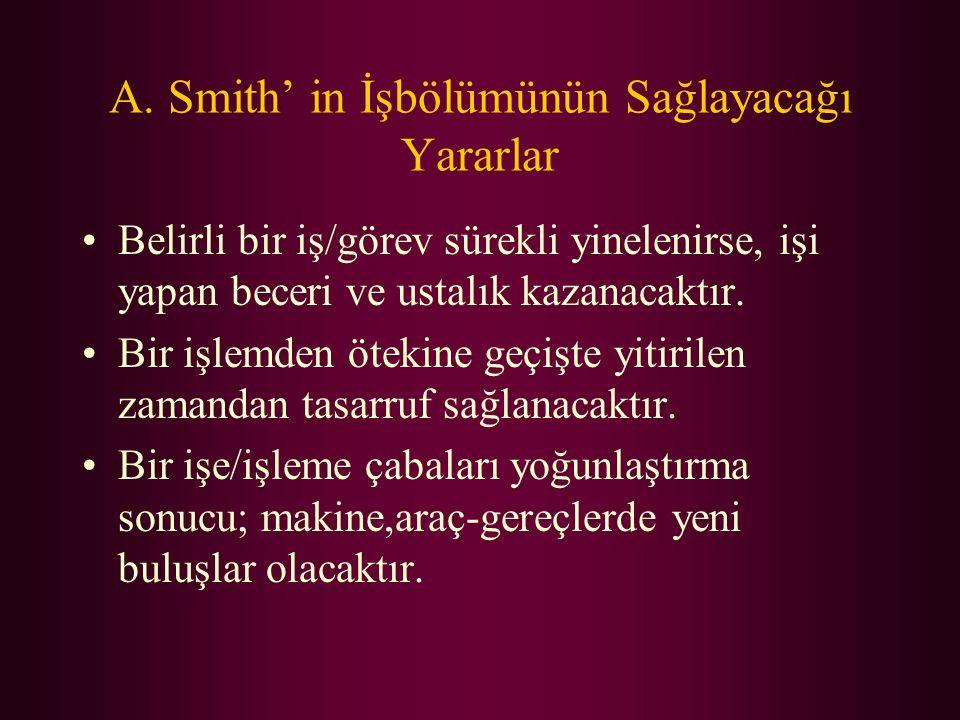 A. Smith' in İşbölümünün Sağlayacağı Yararlar