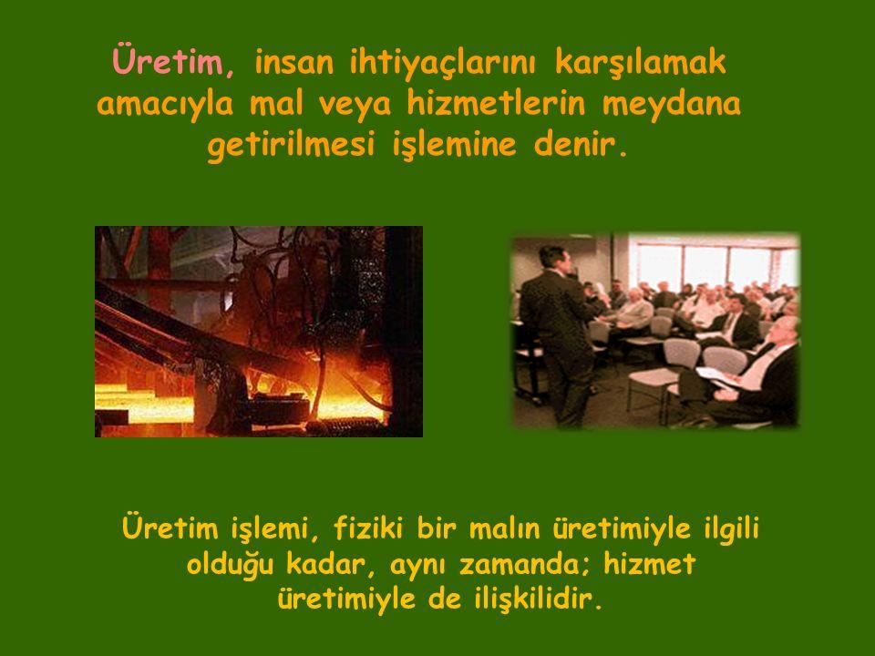 Üretim, insan ihtiyaçlarını karşılamak amacıyla mal veya hizmetlerin meydana getirilmesi işlemine denir.