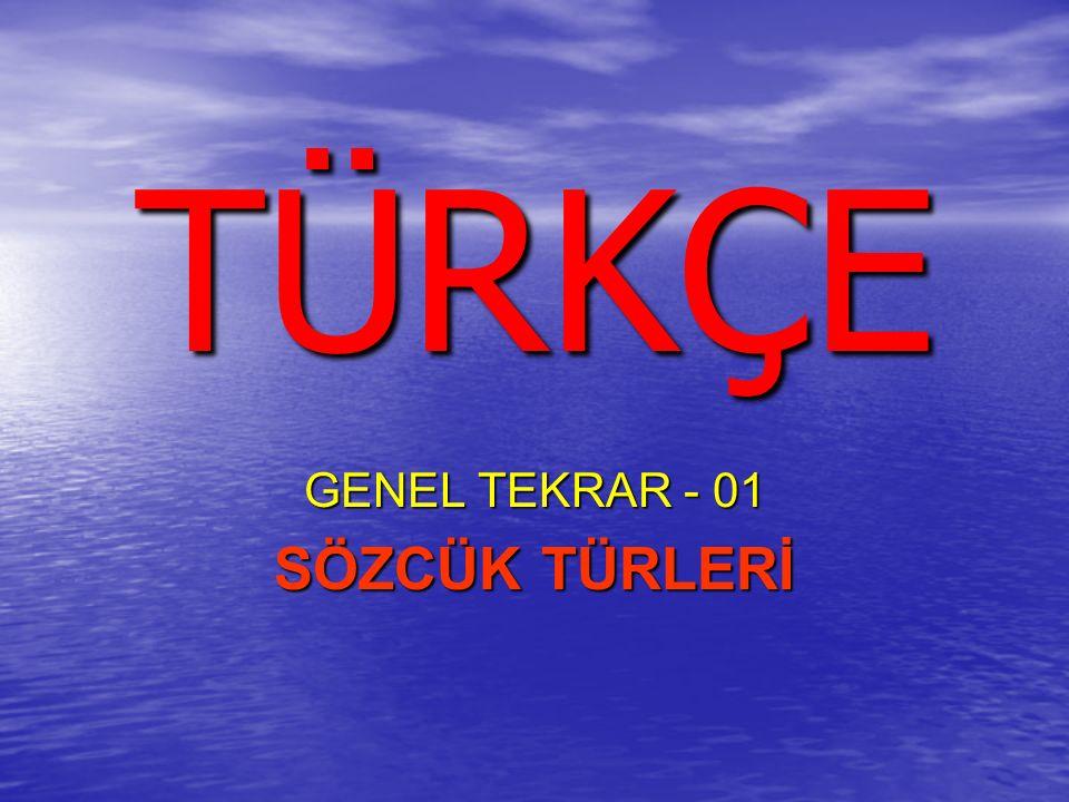 GENEL TEKRAR - 01 SÖZCÜK TÜRLERİ