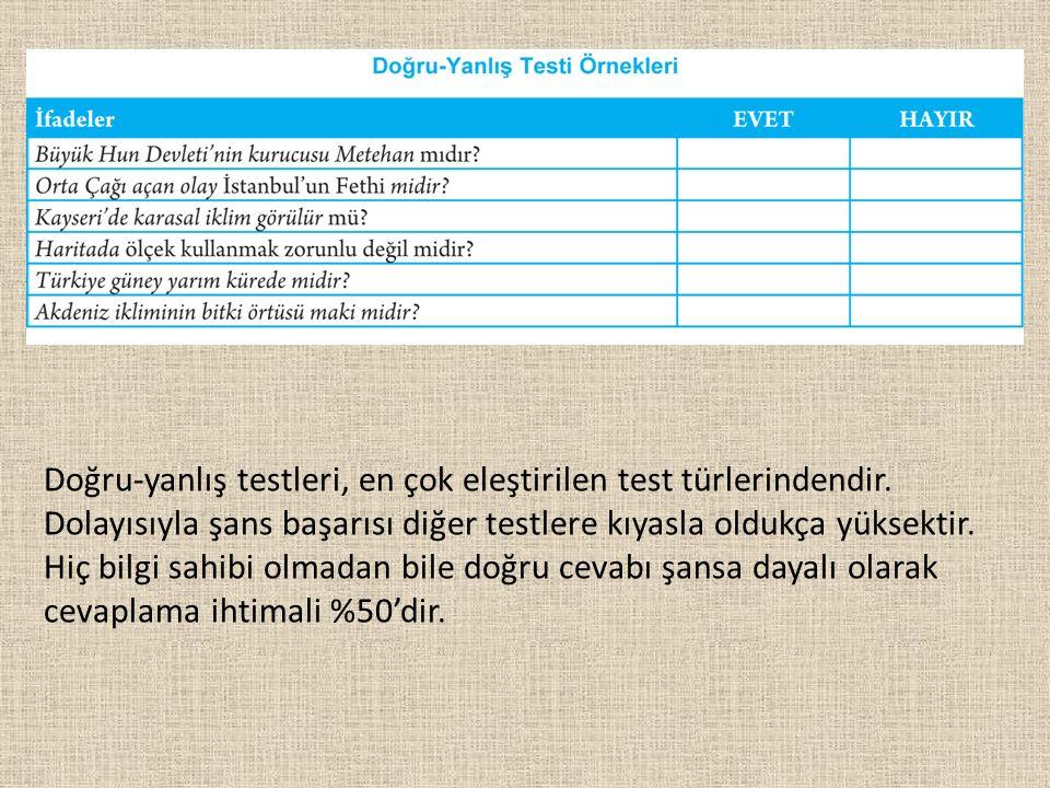 Doğru-yanlış testleri, en çok eleştirilen test türlerindendir