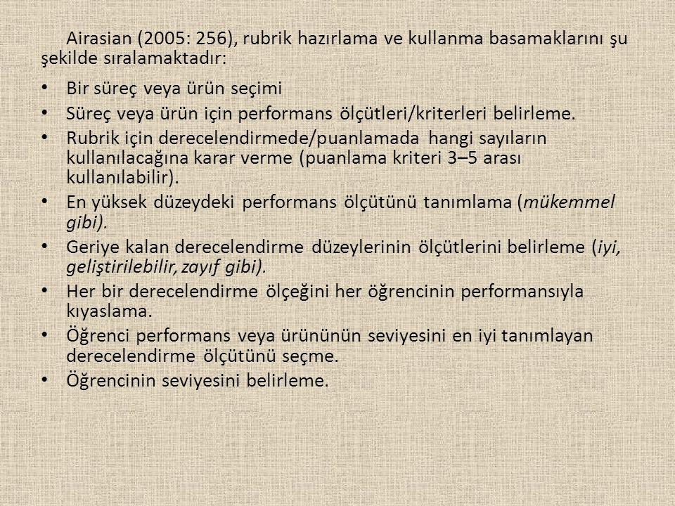Airasian (2005: 256), rubrik hazırlama ve kullanma basamaklarını şu şekilde sıralamaktadır: