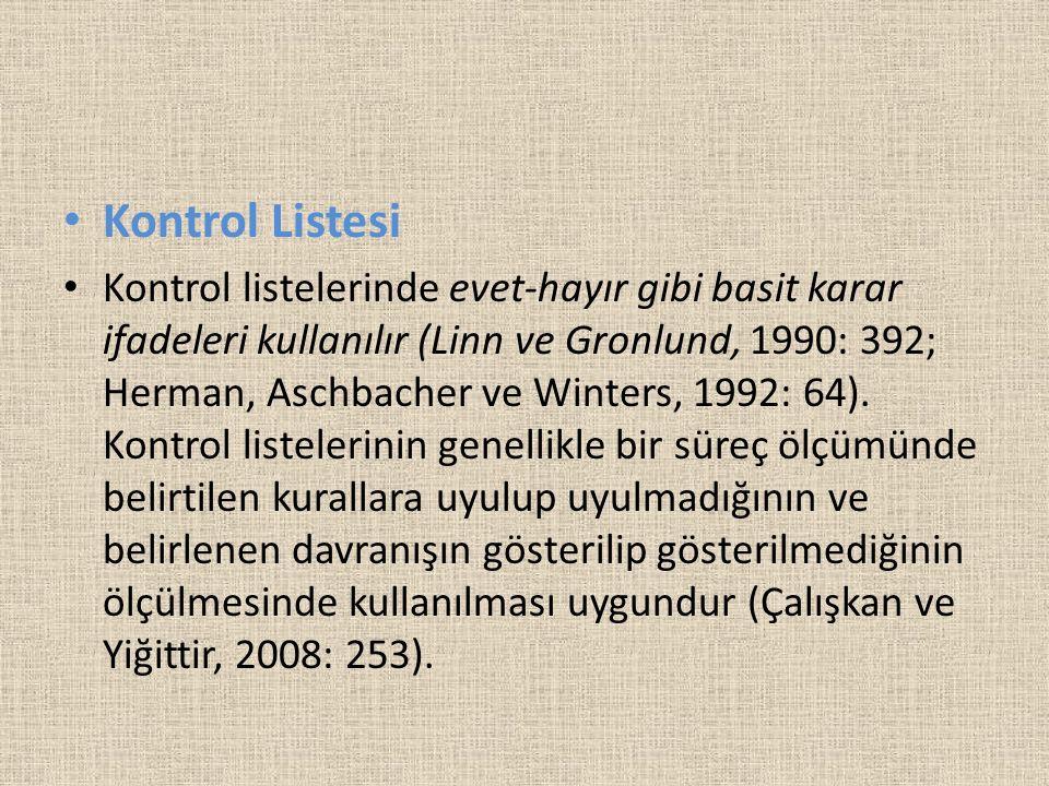 Kontrol Listesi