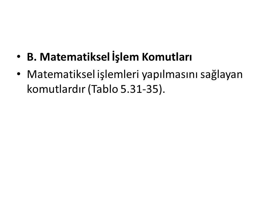 B. Matematiksel İşlem Komutları