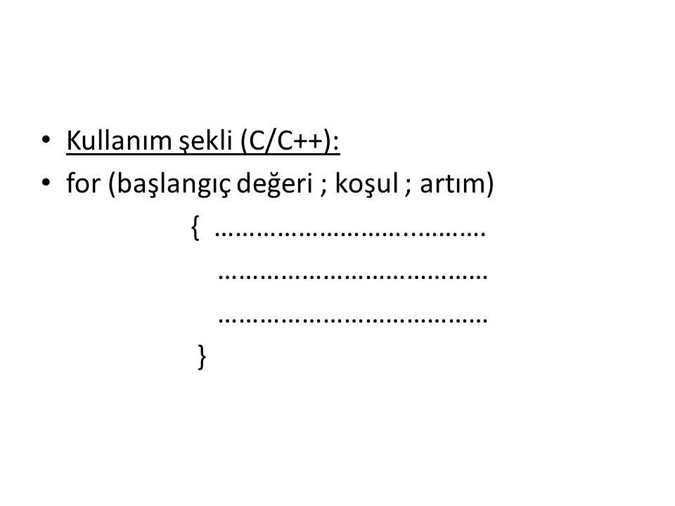 Kullanım şekli (C/C++):