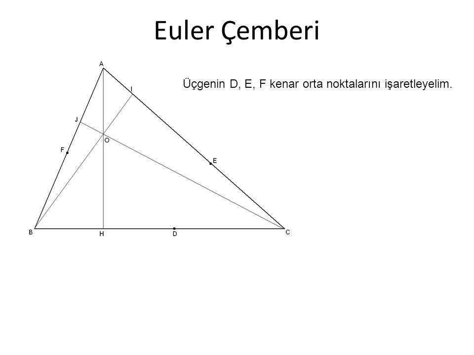 Euler Çemberi Üçgenin D, E, F kenar orta noktalarını işaretleyelim.
