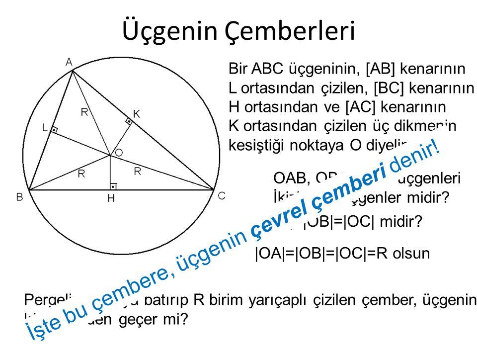 Üçgenin Çemberleri İşte bu çembere, üçgenin çevrel çemberi denir!