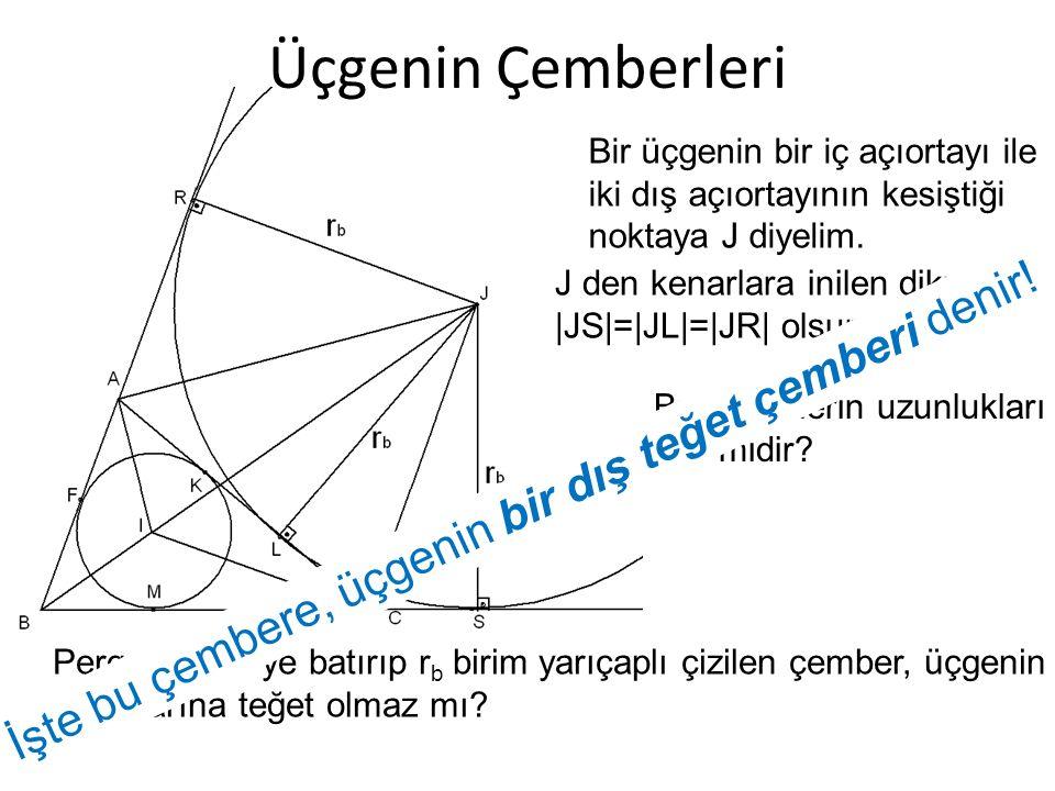 Üçgenin Çemberleri Bir üçgenin bir iç açıortayı ile. iki dış açıortayının kesiştiği. noktaya J diyelim.