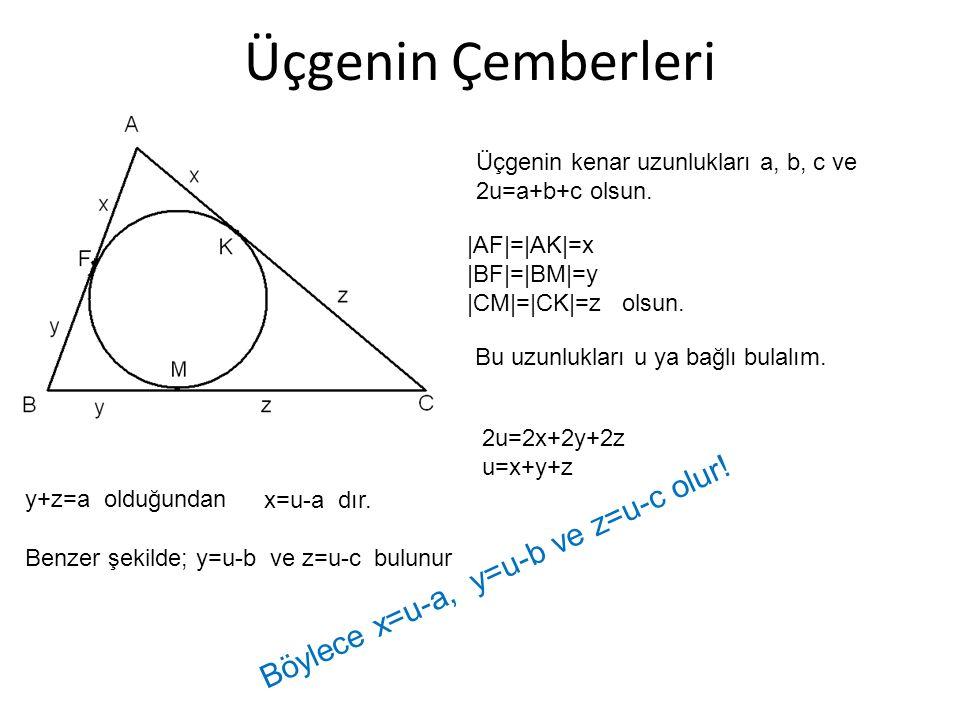 Üçgenin Çemberleri Böylece x=u-a, y=u-b ve z=u-c olur!